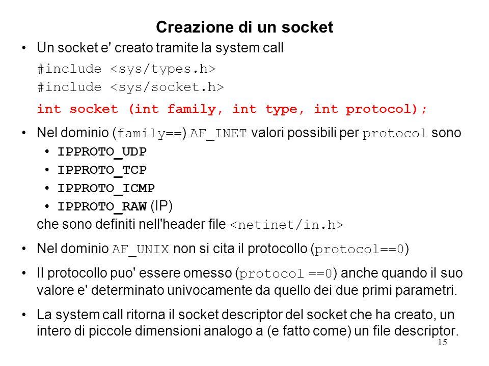 16 Inizializzazione di un socket La system call socket() costruisce un oggetto socket gli assegna la handle (file descriptor) per riferirlo registra che l'oggetto riferito dal file descriptor e' un socket (e non un file o un dispositivo di I/O o un directory o …) registra il tipo di risorsa di rete cui il socket e' associato (address family e socket type) ma non lo associa ad una risorsa reale.