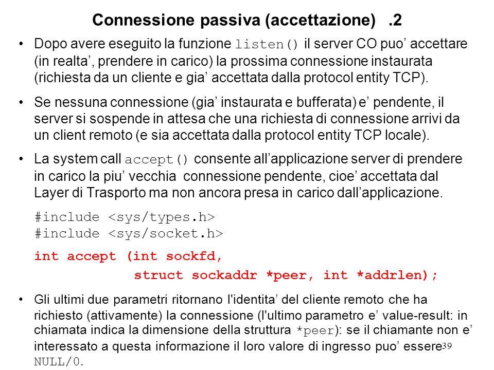 40 Connessione passiva (accettazione).3 TCP server side TCP client side connect ok listen(2) connect reject 1 conn.