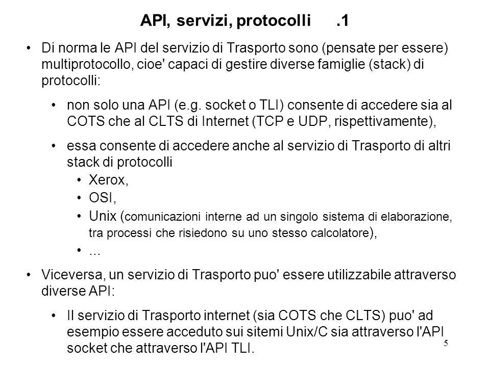 6 API, servizi, protocolli.1' OSI TCP Xerox NS socket API 127.0.0.1 IP A1.A2.A3.A4 UDP Unix AF_inet loopback Ethernet
