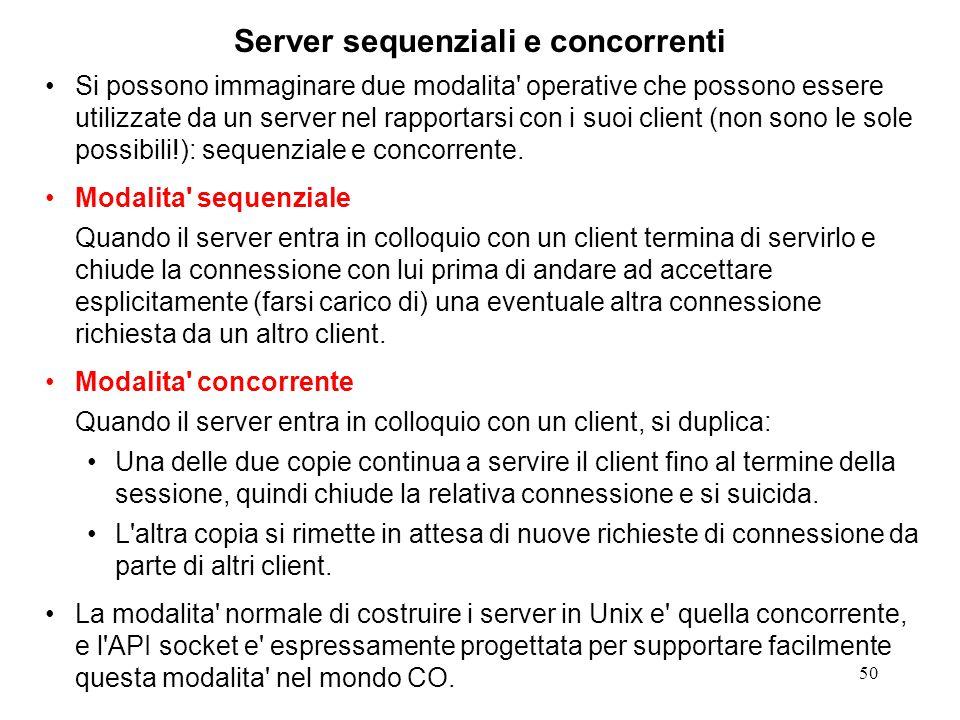 51 Server sequenziali e concorrenti L'interazione client-server, di norma, non si limita ad una richiesta singola ma coinvolge un dialogo complesso, fatto di tante interazioni.