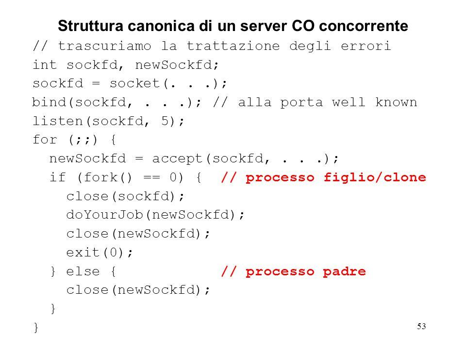 54 Struttura canonica di un client CO // trascuriamo la trattazione degli errori int sockfd; sockfd = socket(...); // non e necessario bind(...).