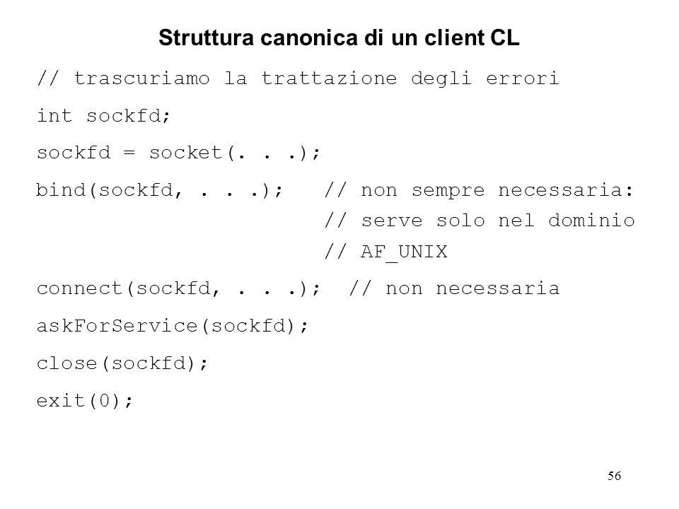 57 Chiusura di un socket La chiusura di un socket avviene attraverso la normale system call di chiusura dei file.