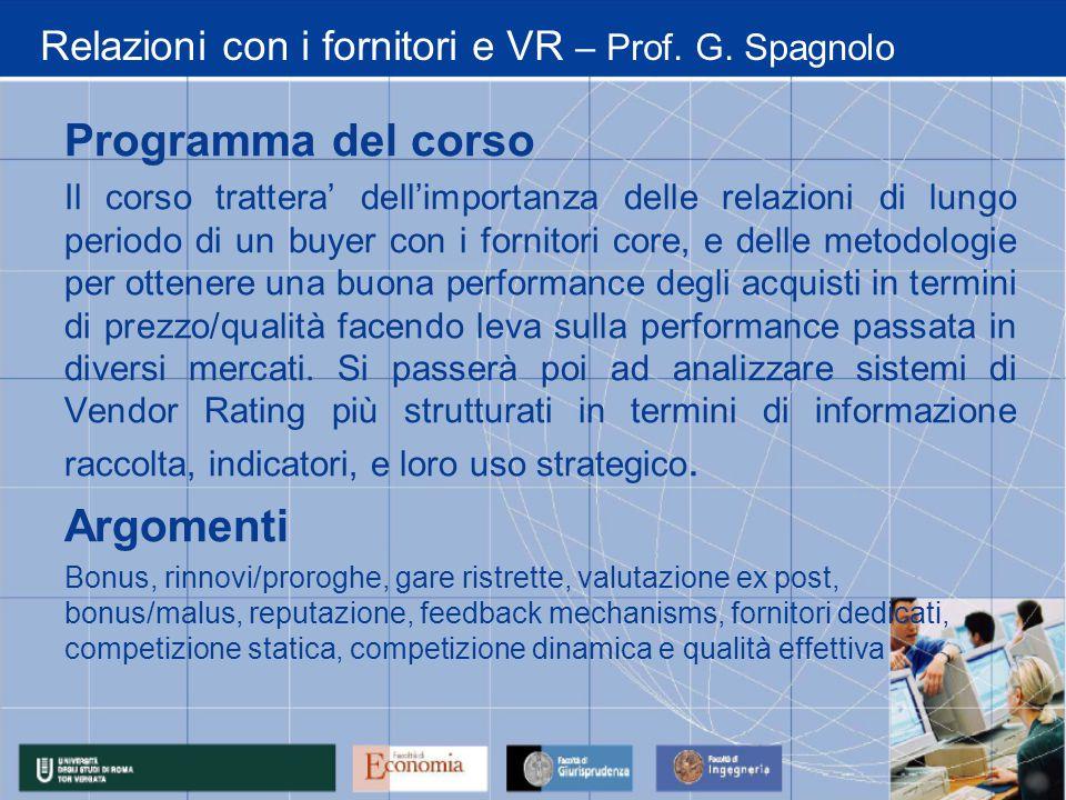 Relazioni con i fornitori e VR – Prof. G.