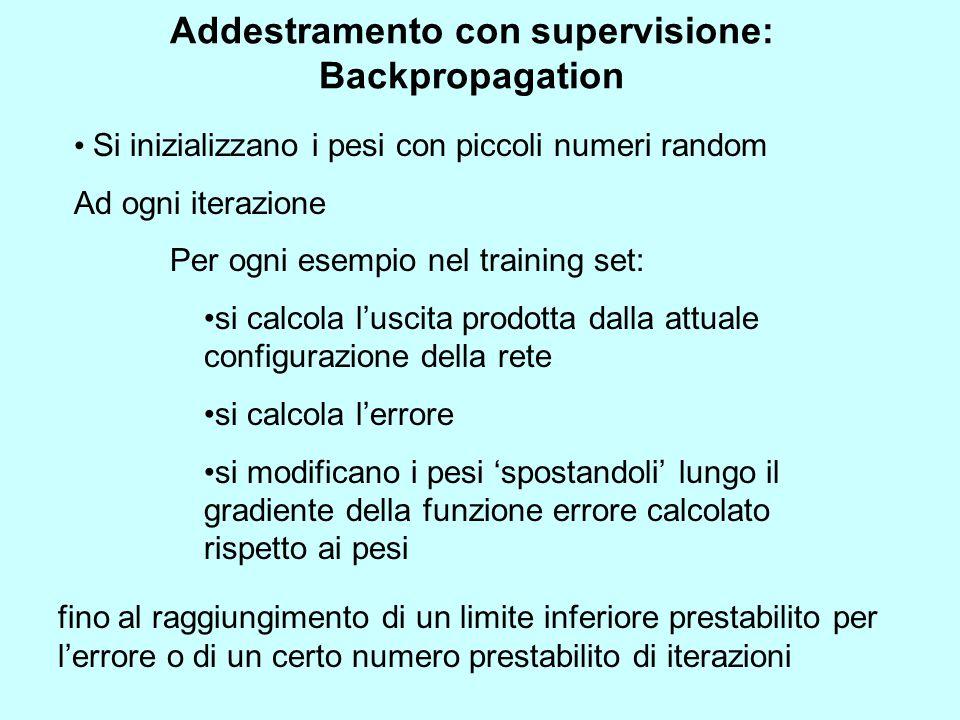 Addestramento con supervisione: Backpropagation Si inizializzano i pesi con piccoli numeri random Ad ogni iterazione Per ogni esempio nel training set