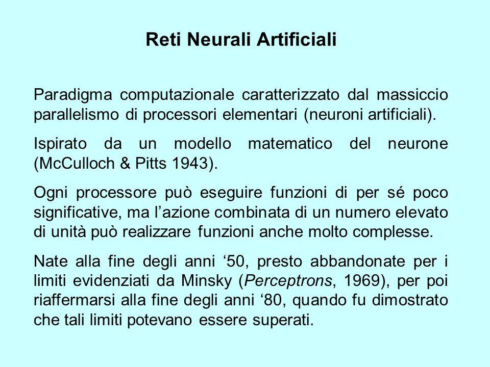 Reti Neurali Artificiali Paradigma computazionale caratterizzato dal massiccio parallelismo di processori elementari (neuroni artificiali). Ispirato d
