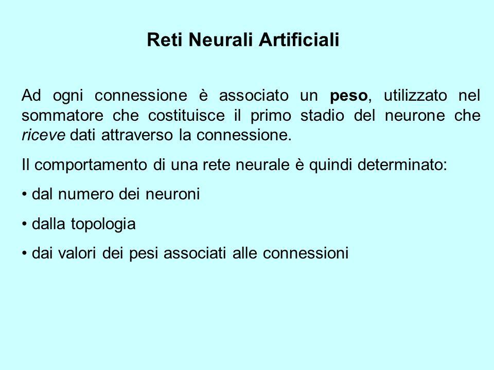 Reti Neurali Artificiali Ad ogni connessione è associato un peso, utilizzato nel sommatore che costituisce il primo stadio del neurone che riceve dati attraverso la connessione.