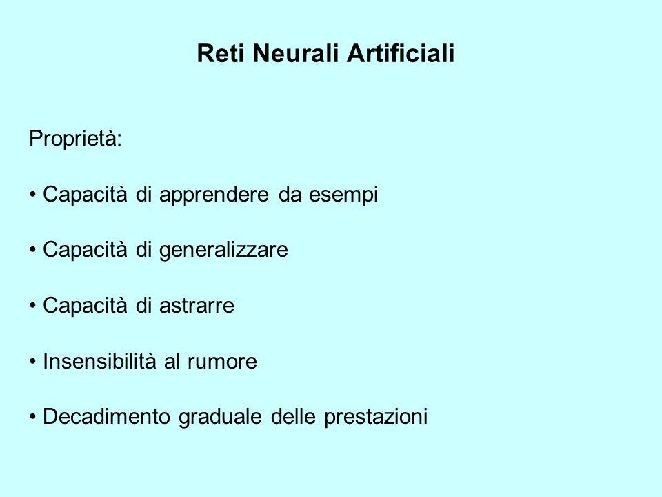 Reti Neurali Artificiali Proprietà: Capacità di apprendere da esempi Capacità di generalizzare Capacità di astrarre Insensibilità al rumore Decadimento graduale delle prestazioni
