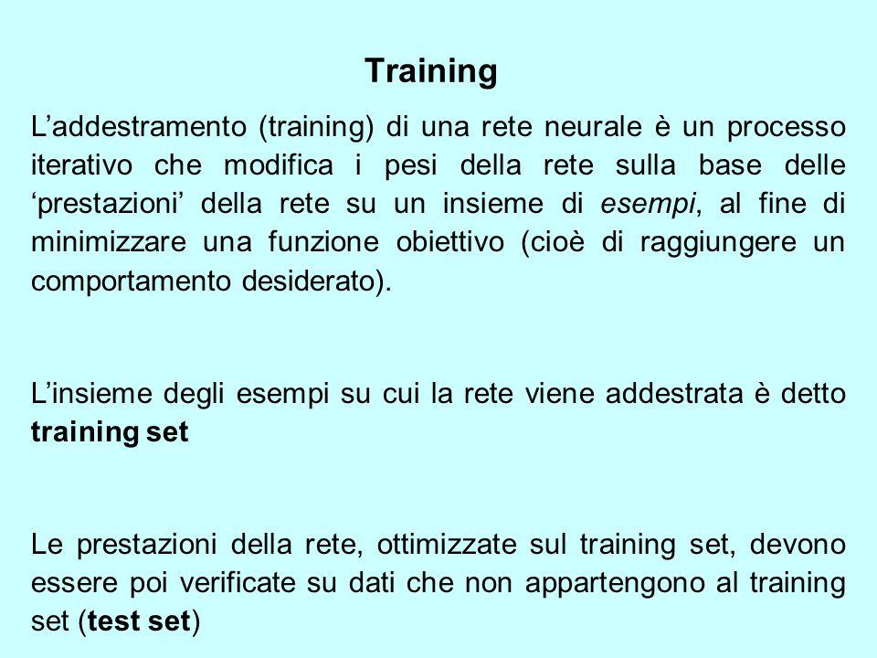 Training L'addestramento (training) di una rete neurale è un processo iterativo che modifica i pesi della rete sulla base delle 'prestazioni' della rete su un insieme di esempi, al fine di minimizzare una funzione obiettivo (cioè di raggiungere un comportamento desiderato).