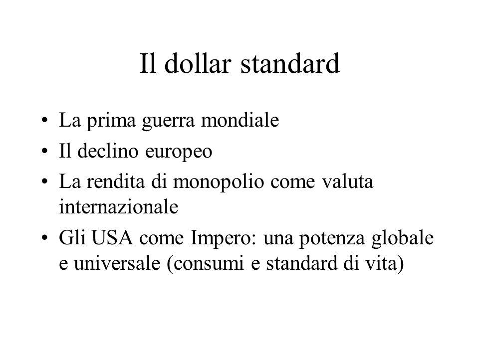 Il dollar standard La prima guerra mondiale Il declino europeo La rendita di monopolio come valuta internazionale Gli USA come Impero: una potenza globale e universale (consumi e standard di vita)