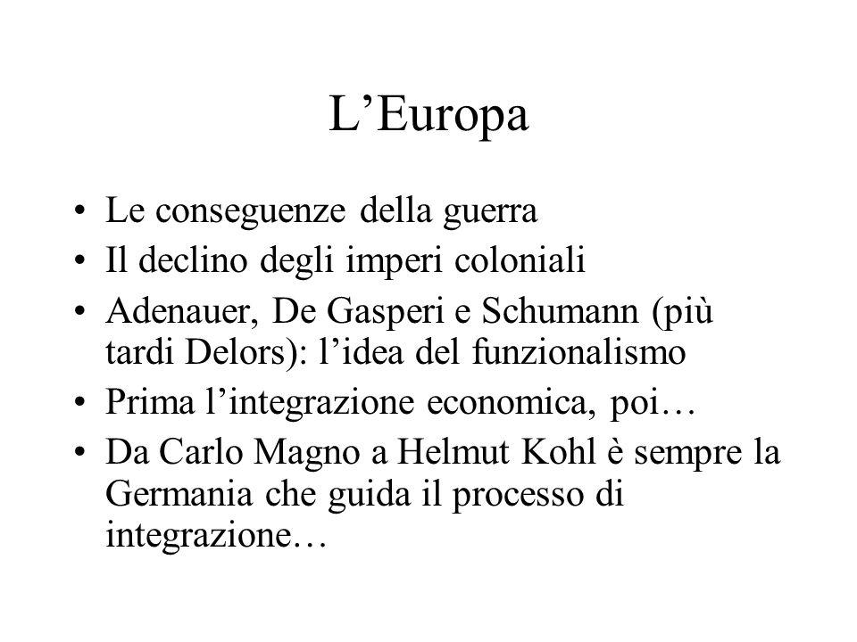 L'Europa Le conseguenze della guerra Il declino degli imperi coloniali Adenauer, De Gasperi e Schumann (più tardi Delors): l'idea del funzionalismo Prima l'integrazione economica, poi… Da Carlo Magno a Helmut Kohl è sempre la Germania che guida il processo di integrazione…