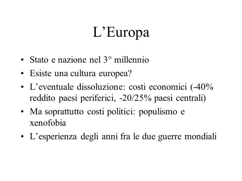 L'Europa Stato e nazione nel 3° millennio Esiste una cultura europea.
