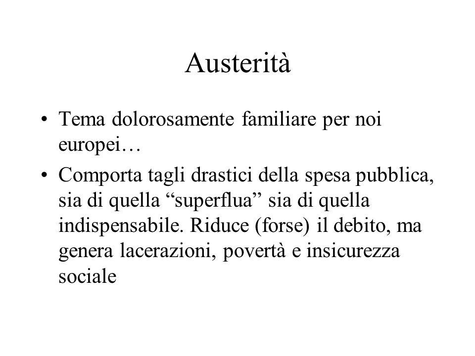 Austerità Tema dolorosamente familiare per noi europei… Comporta tagli drastici della spesa pubblica, sia di quella superflua sia di quella indispensabile.