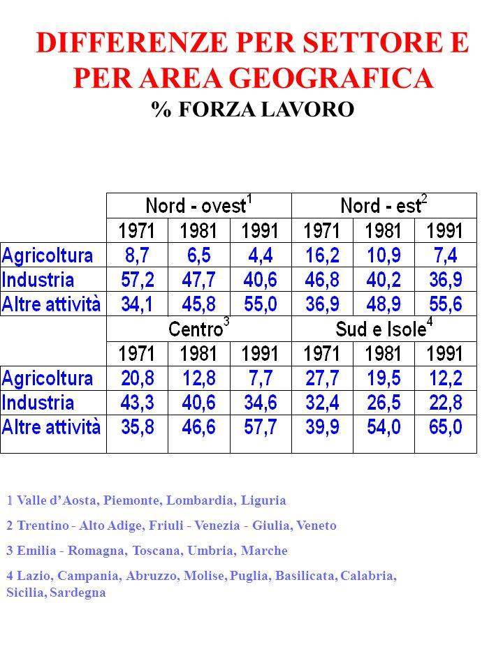DIFFERENZE PER SETTORE E PER AREA GEOGRAFICA % FORZA LAVORO 1 1 Valle d'Aosta, Piemonte, Lombardia, Liguria 2 Trentino - Alto Adige, Friuli - Venezia