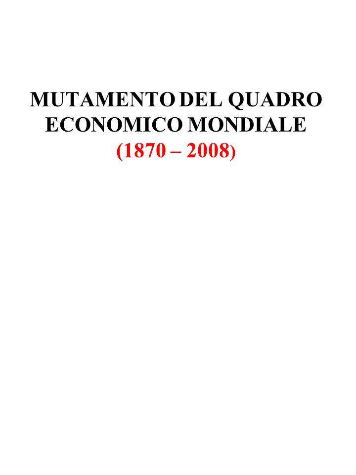 MUTAMENTO DEL QUADRO ECONOMICO MONDIALE (1870 – 2008 )