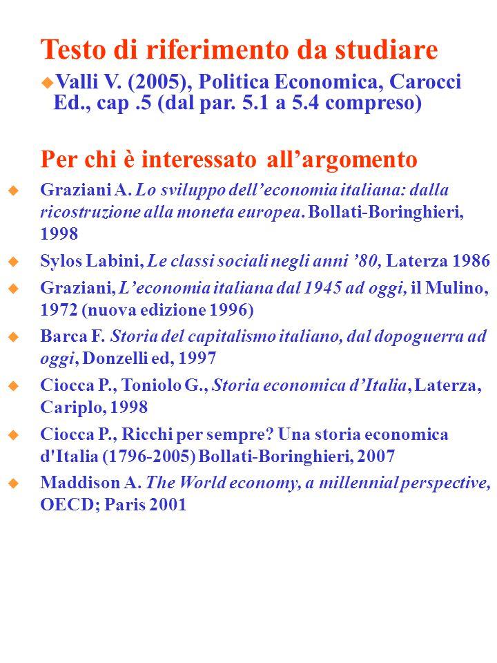 Testo di riferimento da studiare  Valli V. (2005), Politica Economica, Carocci Ed., cap.5 (dal par. 5.1 a 5.4 compreso) Per chi è interessato all'arg
