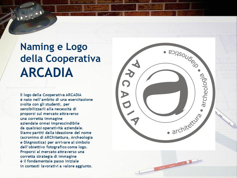 Naming e Logo della Cooperativa ARCADIA Il logo della Cooperativa ARCADIA è nato nell'ambito di una esercitazione svolta con gli studenti, per sensibi