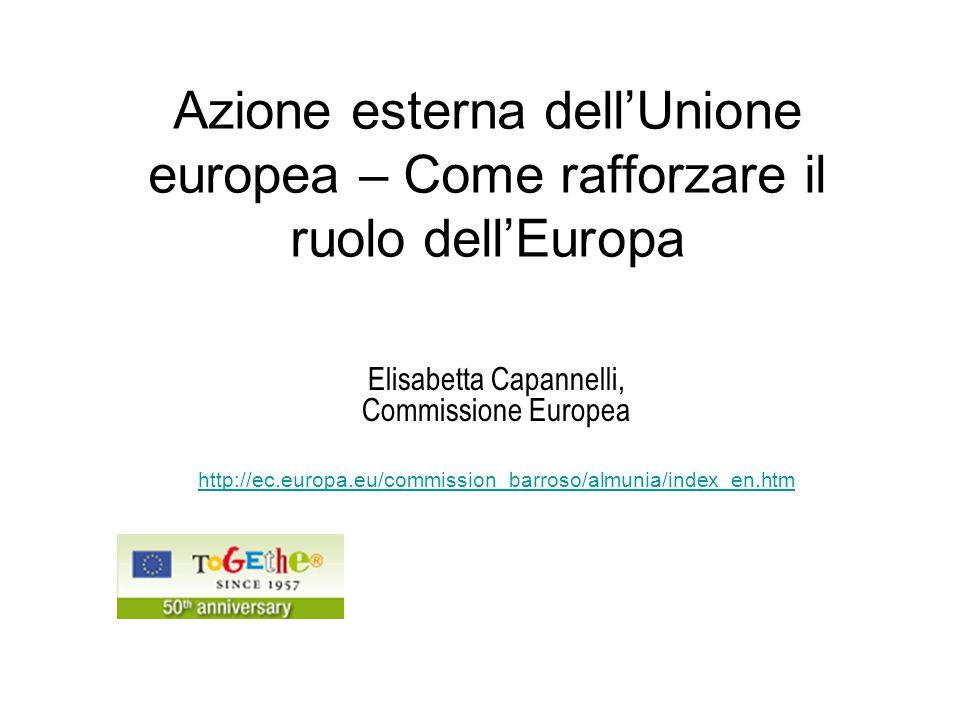 12 Siti Web Utili L'Europa nel mondo: proposte pratiche per una maggiore coerenza, efficacia e visibilità http://ec.europa.eu/world/index_en.htm http://ec.europa.eu/external_relations/euw_global/index.htm La rappresentanza esterna dell'euro http://ec.europa.eu/economy_finance/publications/european_economy/2007/ ee407en.pdf DG ECFIN http://ec.europa.eu/economy_finance/index_en.htm Il Commissario agli affari economici e monetari - Almunia http://ec.europa.eu/commission_barroso/almunia/index_en.htm