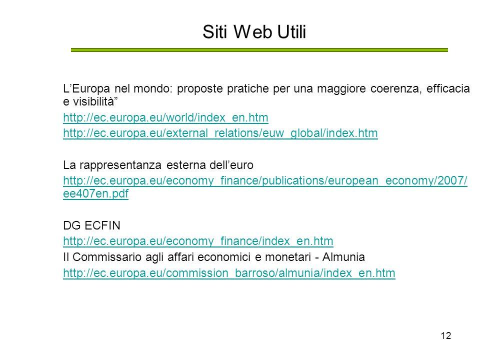 """12 Siti Web Utili L'Europa nel mondo: proposte pratiche per una maggiore coerenza, efficacia e visibilità"""" http://ec.europa.eu/world/index_en.htm http"""