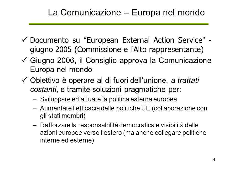 4 La Comunicazione – Europa nel mondo Documento su European External Action Service - giugno 2005 (Commissione e l ' Alto rappresentante) Giugno 2006, il Consiglio approva la Comunicazione Europa nel mondo Obiettivo è operare al di fuori dell'unione, a trattati costanti, e tramite soluzioni pragmatiche per: –Sviluppare ed attuare la politica esterna europea –Aumentare l'efficacia delle politiche UE (collaborazione con gli stati membri) –Rafforzare la responsabilità democratica e visibilità delle azioni europee verso l'estero (ma anche collegare politiche interne ed esterne)