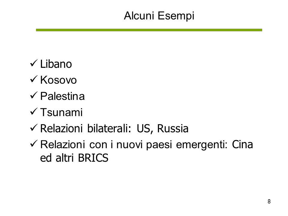 8 Alcuni Esempi Libano Kosovo Palestina Tsunami Relazioni bilaterali: US, Russia Relazioni con i nuovi paesi emergenti: Cina ed altri BRICS