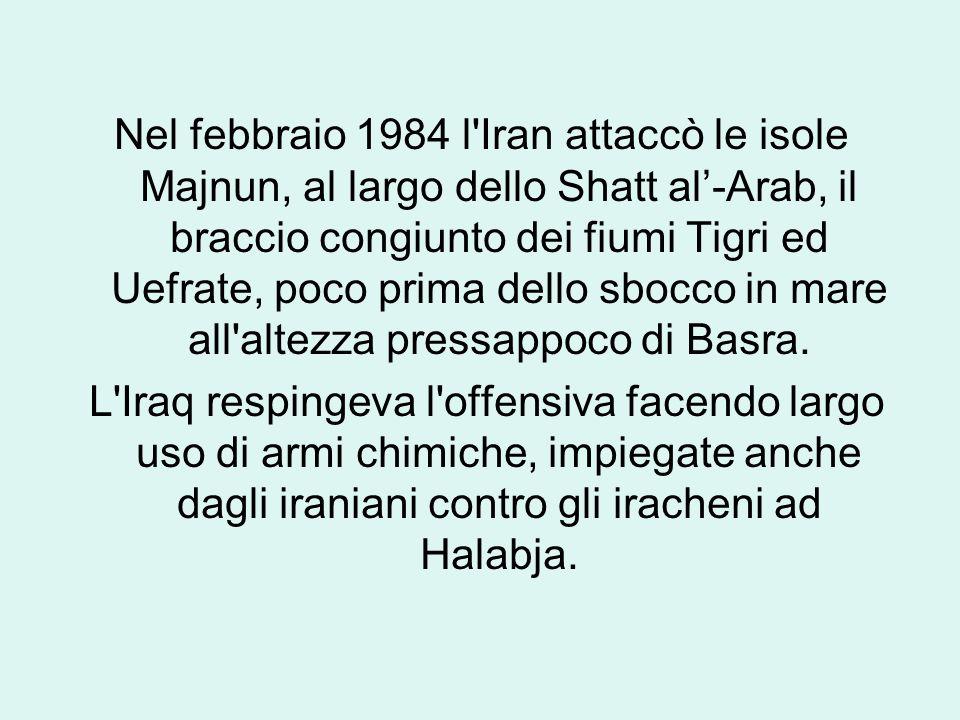 Nel febbraio 1984 l Iran attaccò le isole Majnun, al largo dello Shatt al'-Arab, il braccio congiunto dei fiumi Tigri ed Uefrate, poco prima dello sbocco in mare all altezza pressappoco di Basra.