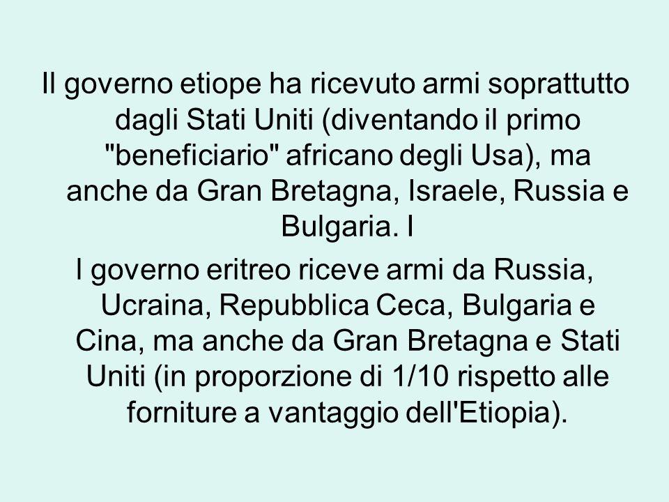 Il governo etiope ha ricevuto armi soprattutto dagli Stati Uniti (diventando il primo beneficiario africano degli Usa), ma anche da Gran Bretagna, Israele, Russia e Bulgaria.