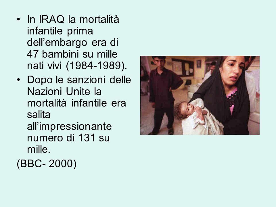 In IRAQ la mortalità infantile prima dell'embargo era di 47 bambini su mille nati vivi (1984-1989).