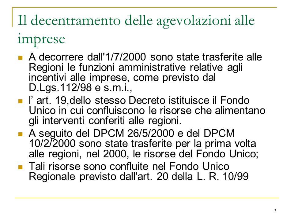 3 Il decentramento delle agevolazioni alle imprese A decorrere dall 1/7/2000 sono state trasferite alle Regioni le funzioni amministrative relative agli incentivi alle imprese, come previsto dal D.Lgs.112/98 e s.m.i., l' art.