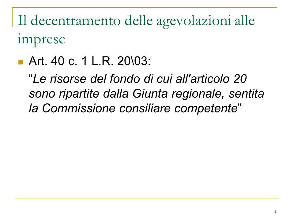 4 Il decentramento delle agevolazioni alle imprese Art.