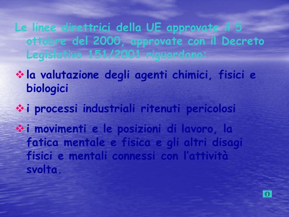 Le linee direttrici della UE approvate il 5 ottobre del 2000, approvate con il Decreto Legislativo 151/2001 riguardano:  la valutazione degli agenti