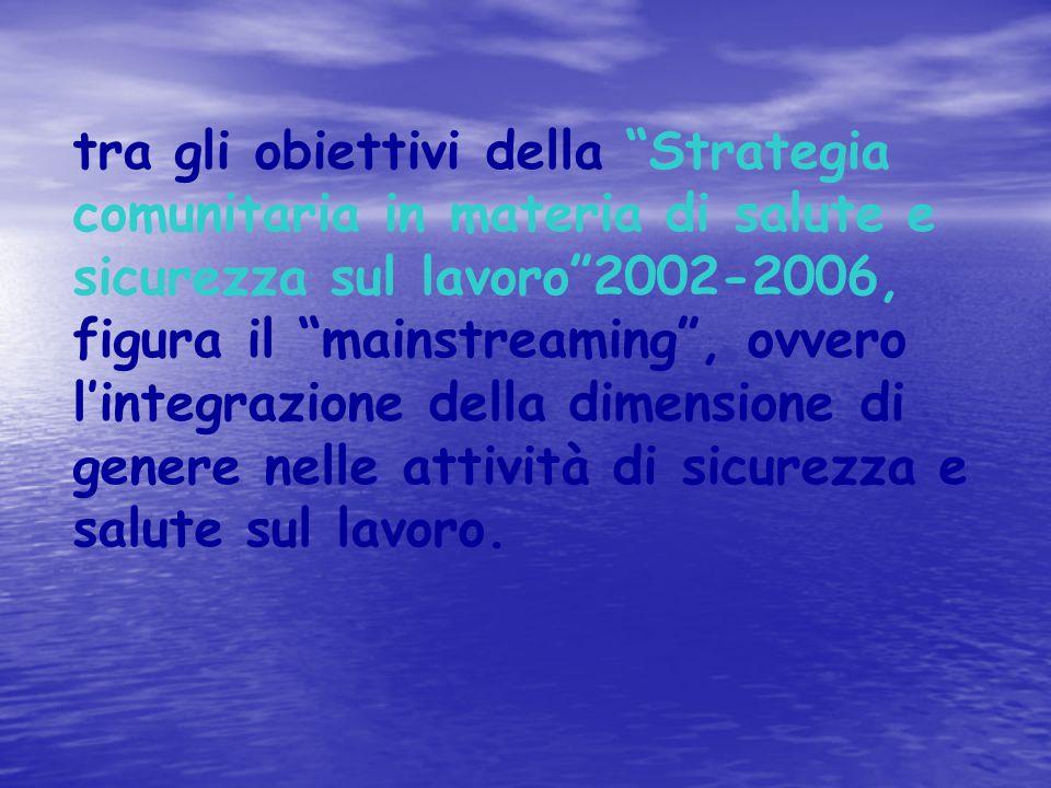 """tra gli obiettivi della """"Strategia comunitaria in materia di salute e sicurezza sul lavoro""""2002-2006, figura il """"mainstreaming"""", ovvero l'integrazione"""