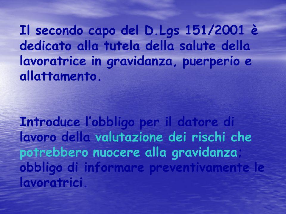 Il secondo capo del D.Lgs 151/2001 è dedicato alla tutela della salute della lavoratrice in gravidanza, puerperio e allattamento. Introduce l'obbligo