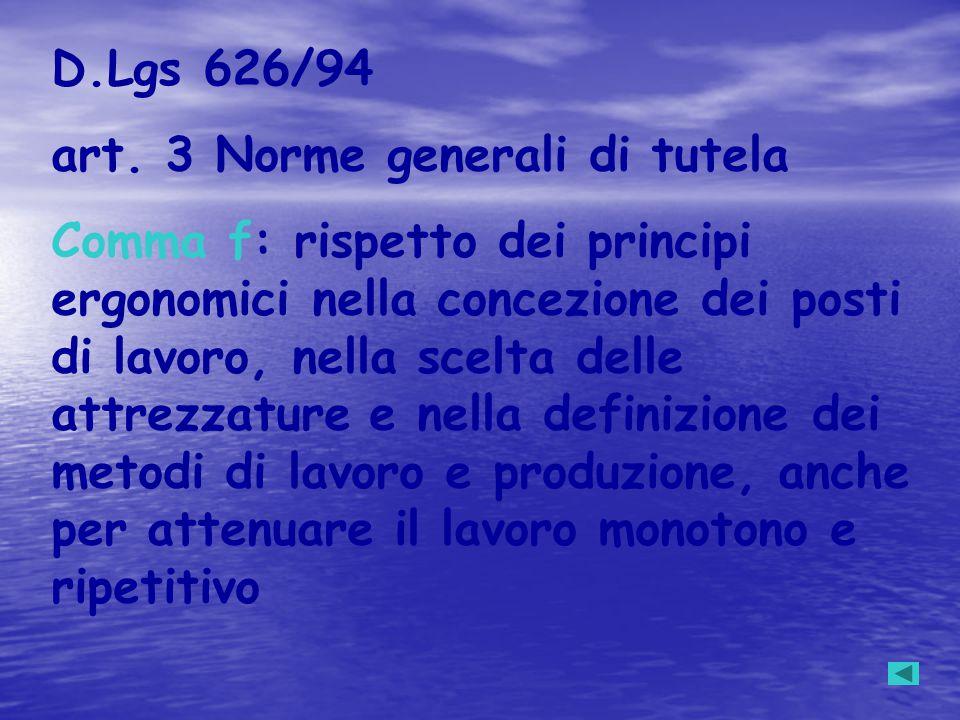 D.Lgs 626/94 art. 3 Norme generali di tutela Comma f: rispetto dei principi ergonomici nella concezione dei posti di lavoro, nella scelta delle attrez