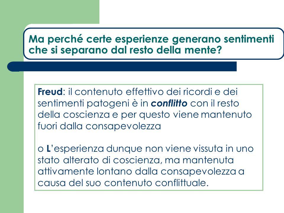 Freud : il contenuto effettivo dei ricordi e dei sentimenti patogeni è in conflitto con il resto della coscienza e per questo viene mantenuto fuori da