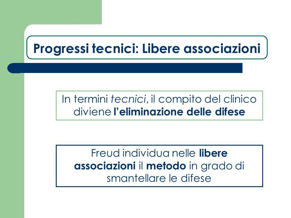 Progressi tecnici: Libere associazioni In termini tecnici, il compito del clinico diviene l'eliminazione delle difese Freud individua nelle libere ass