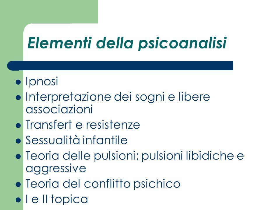 Elementi della psicoanalisi Ipnosi Interpretazione dei sogni e libere associazioni Transfert e resistenze Sessualità infantile Teoria delle pulsioni: