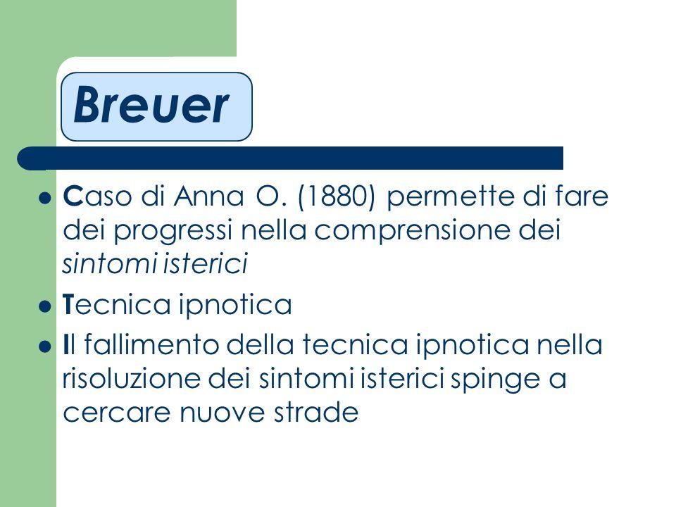 Breuer C aso di Anna O. (1880) permette di fare dei progressi nella comprensione dei sintomi isterici T ecnica ipnotica I l fallimento della tecnica i