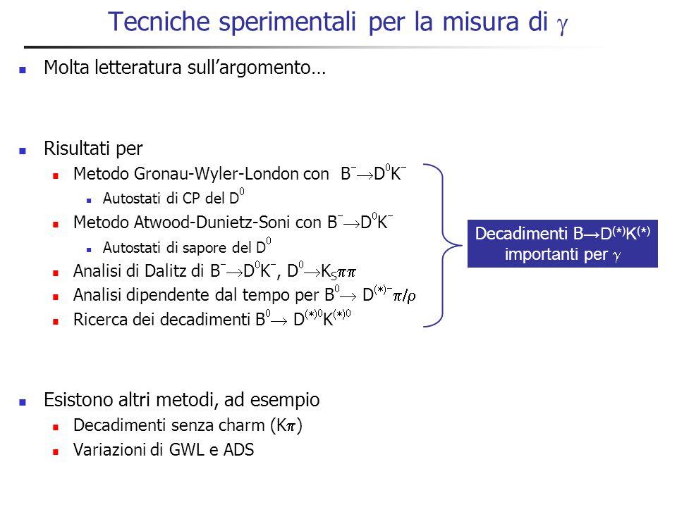 Osservazioni importanti Branching fractions per i decadimenti interessanti tipicamente ~10  o più piccoli Importante aggiungere molti modi di decadimento per accrescere la statistica ma… Combinazione dei modi non banale Sensibilità a  dipende molto da Valori piccoli di r B, che rendono la misura difficile Ciascun modo di decadimento ha il suo r B Ciascuno stato finale ha la sua fase forte  Combinazione dei modi di decadimento complicata Sperimentalmente si determinano: r B, , e 