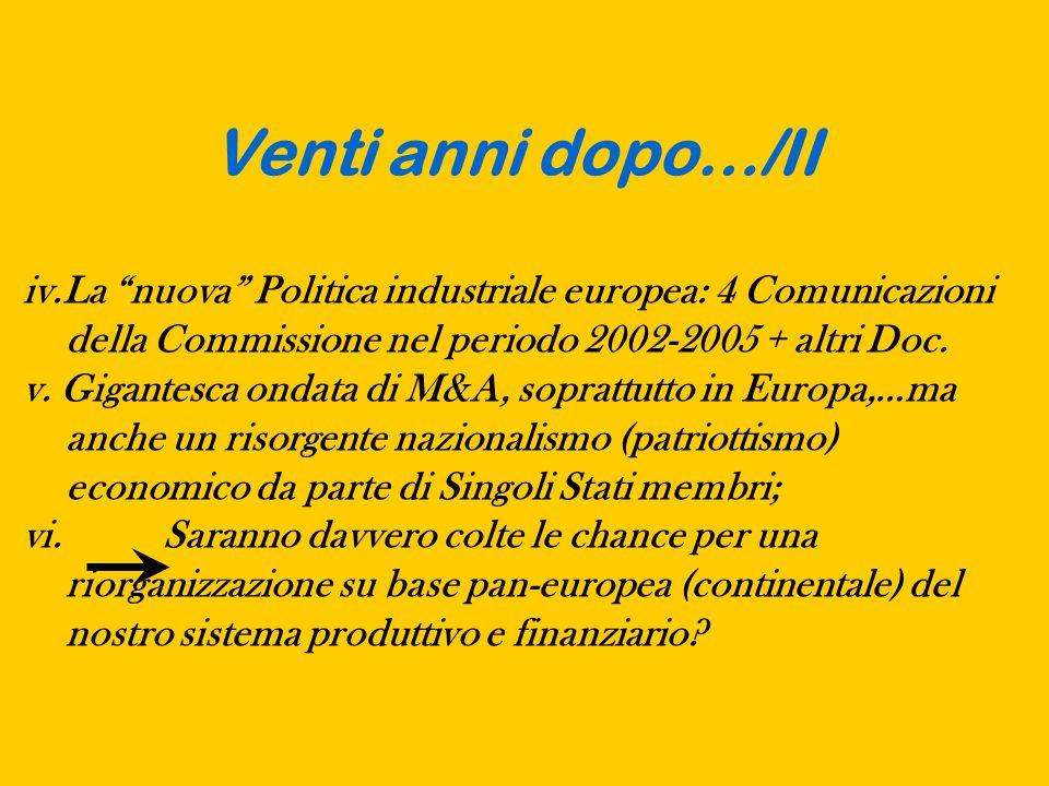 Venti anni dopo…/II iv.La nuova Politica industriale europea: 4 Comunicazioni della Commissione nel periodo 2002-2005 + altri Doc.