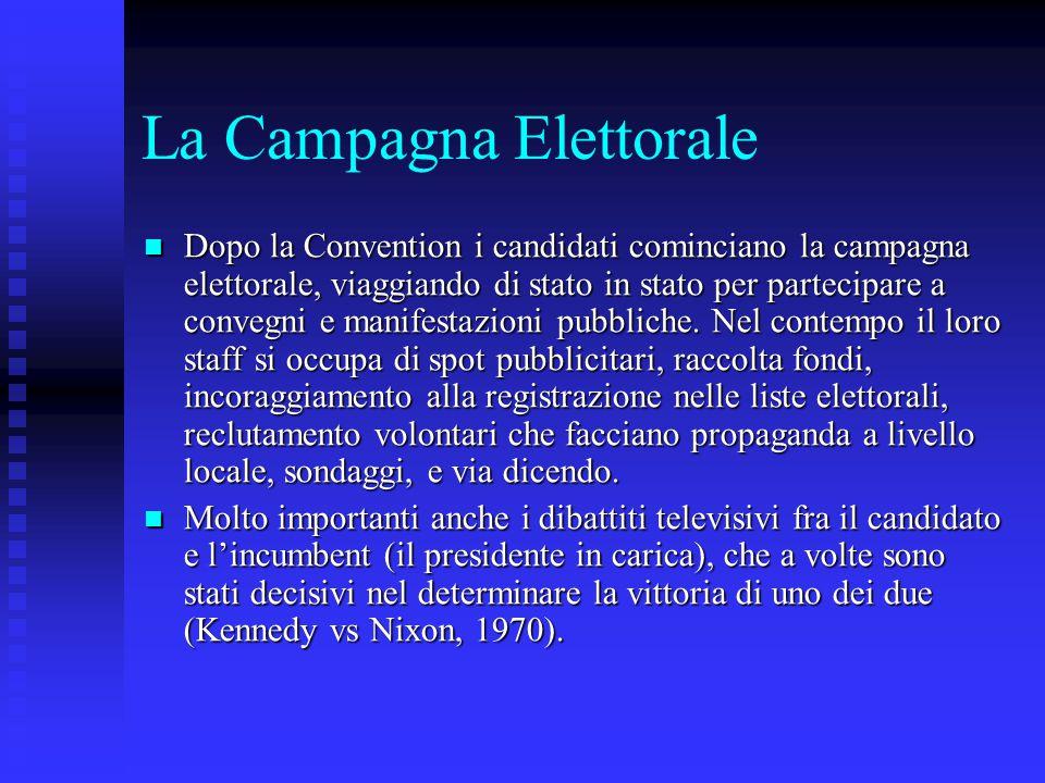 La Campagna Elettorale Dopo la Convention i candidati cominciano la campagna elettorale, viaggiando di stato in stato per partecipare a convegni e man