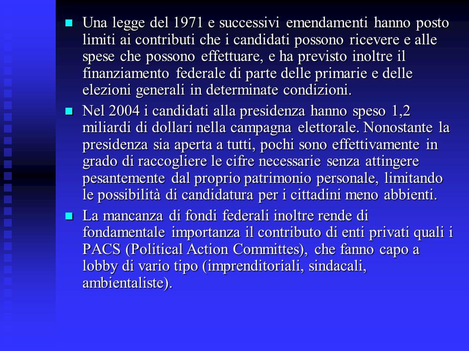 Una legge del 1971 e successivi emendamenti hanno posto limiti ai contributi che i candidati possono ricevere e alle spese che possono effettuare, e h