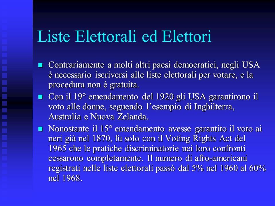 Liste Elettorali ed Elettori Contrariamente a molti altri paesi democratici, negli USA è necessario iscriversi alle liste elettorali per votare, e la