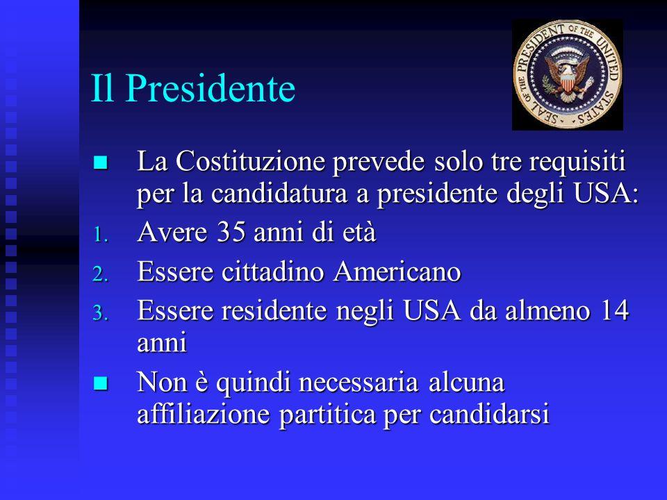 Il Presidente La Costituzione prevede solo tre requisiti per la candidatura a presidente degli USA: La Costituzione prevede solo tre requisiti per la