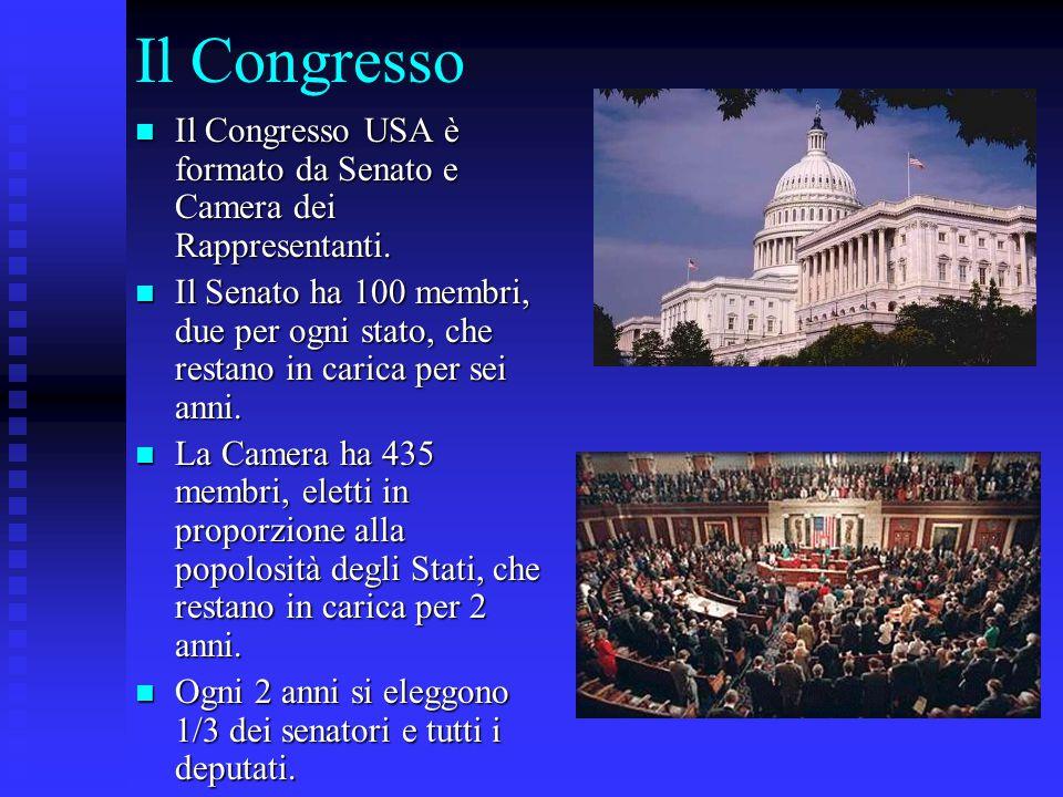 Il Congresso Il Congresso USA è formato da Senato e Camera dei Rappresentanti. Il Congresso USA è formato da Senato e Camera dei Rappresentanti. Il Se