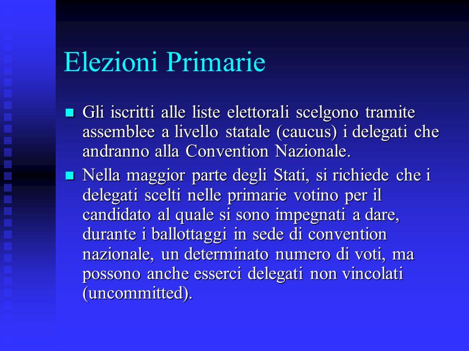 Elezioni Primarie Gli iscritti alle liste elettorali scelgono tramite assemblee a livello statale (caucus) i delegati che andranno alla Convention Naz