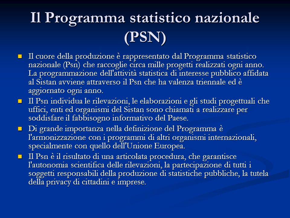 Il Programma statistico nazionale (PSN) Il cuore della produzione è rappresentato dal Programma statistico nazionale (Psn) che raccoglie circa mille progetti realizzati ogni anno.