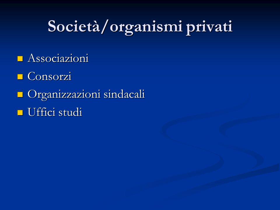 Società/organismi privati Associazioni Associazioni Consorzi Consorzi Organizzazioni sindacali Organizzazioni sindacali Uffici studi Uffici studi