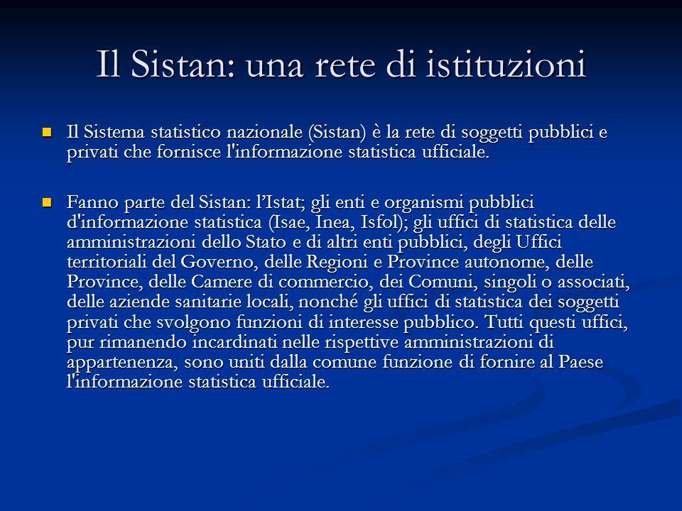 Il Sistan: una rete di istituzioni Il Sistema statistico nazionale (Sistan) è la rete di soggetti pubblici e privati che fornisce l informazione statistica ufficiale.