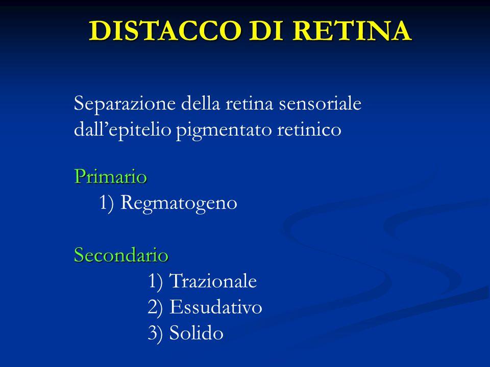1.Trazionale 1.Trazionale: una o più membrane vitreoretiniche contraendosi tirano la retina neurosensoriale staccandola dall'epitelio pigmentato retinico (retinopatia diabetica, occlusioni vascolari retiniche, retinopatia del prematuro, traumi) Distacco retinico secondario