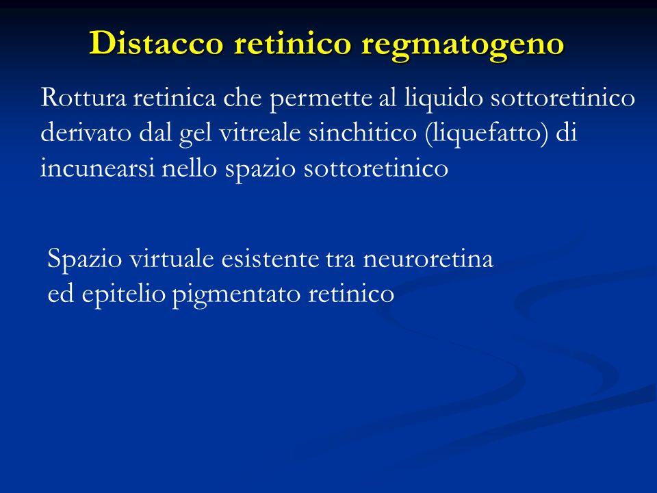Patogenesi Rotture: sono causate da trazioni vitreoretiniche dinamiche Rotture: sono causate da trazioni vitreoretiniche dinamiche Fori: causati dall'atrofia della retina neurosensoriale (meno pericolosi delle rotture) Fori: causati dall'atrofia della retina neurosensoriale (meno pericolosi delle rotture) Le rotture retiniche (rotture, fori) sono causate dalla combinazione di trazioni vitreoretiniche e degenrazioni predisponenti situate nella periferia retinica Le rotture retiniche (rotture, fori) sono causate dalla combinazione di trazioni vitreoretiniche e degenrazioni predisponenti situate nella periferia retinica La miopia può svolgere un ruolo significativo La miopia può svolgere un ruolo significativo